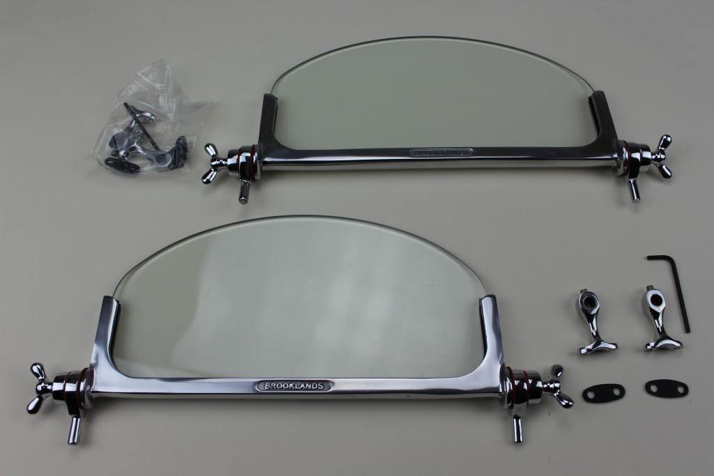 "+123   Brooklands Genuine aero screens. Cast alloy frames (""Brooklands"" cast into frame) with chrome on brass fittings."