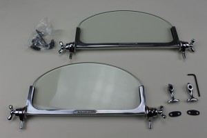 "+123   Brooklands Genuine aero screens. Cast alloy frames (""Brooklands"" cast into frame) with chrome on brass fittings."