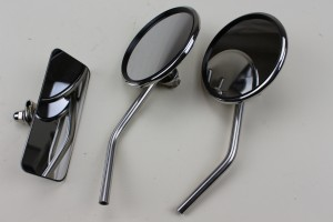 +277   Rear view mirrors 3 piece set,Stainless steel with replaceable glass, excelllent image quality, Can also be supplied individually.